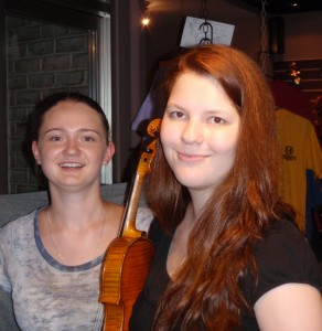 Tetyanna Pyatovolenko, cello player and Elizabeth Yanushkevich, violin enjoy their recent trip to Hershey Violins.